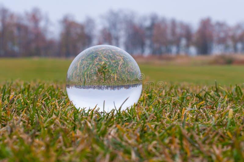 Bola transparente de vidro na grama verde e no parque imagens de stock