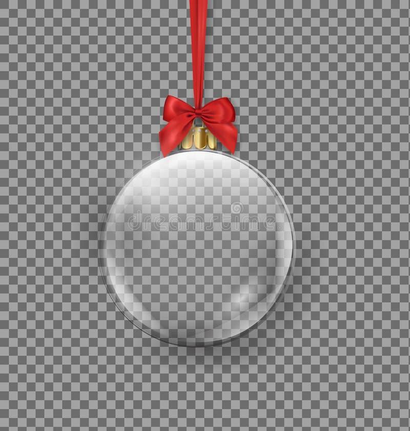 Bola transparente do Natal que pendura na fita vermelha em um fundo escuro Vetor ilustração royalty free
