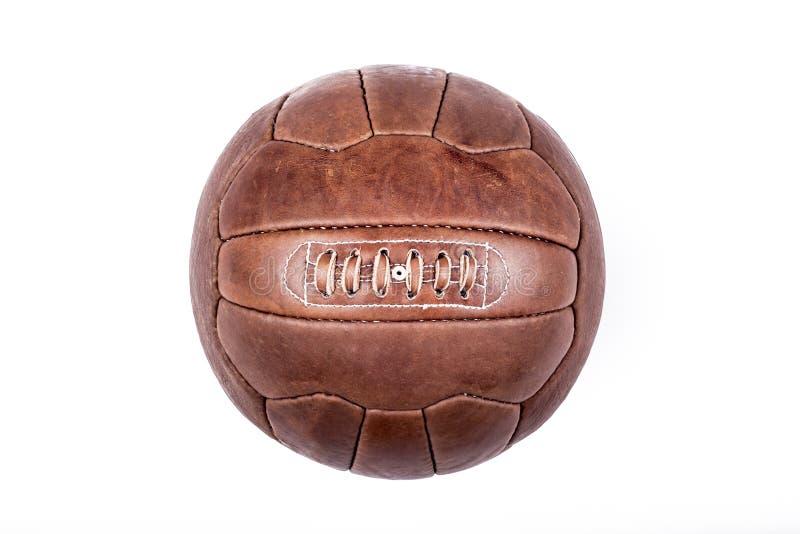 Bola velha do couro do futebol fotos de stock