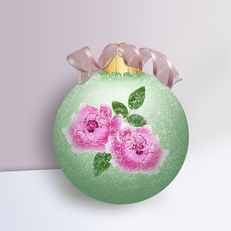 Bola verde de la Navidad con las rosas stock de ilustración