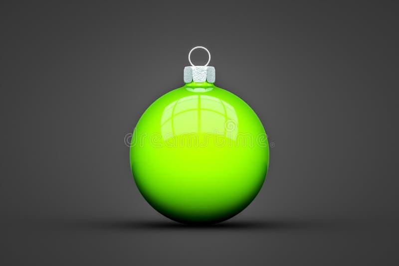 bola verde do Natal isolada com espaço do texto ilustração stock