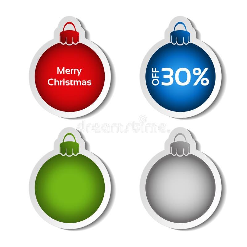 Bola vermelha, azul, verde e de prata para anunciar o texto no fundo branco, etiquetas com sombra ilustração stock