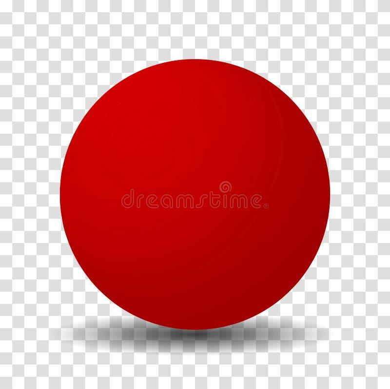 Bola vermelha brilhante da esfera ilustração do vetor