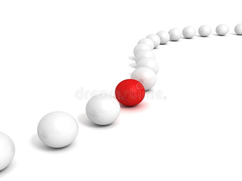A bola vermelha diferente em muitas bolas brancas enfileira ilustração stock