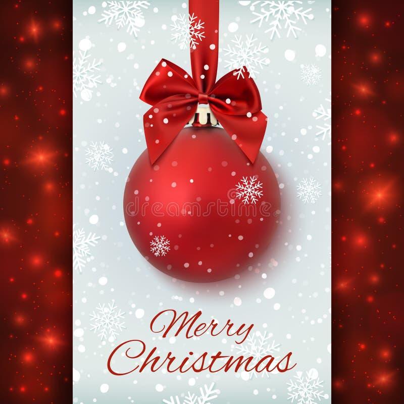 Bola vermelha do Natal com fita e uma curva ilustração do vetor