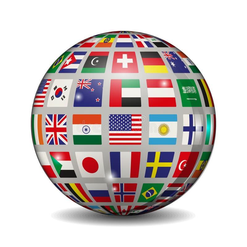Bola volumétrica con las banderas de los países diferentes Ilustración del vector stock de ilustración