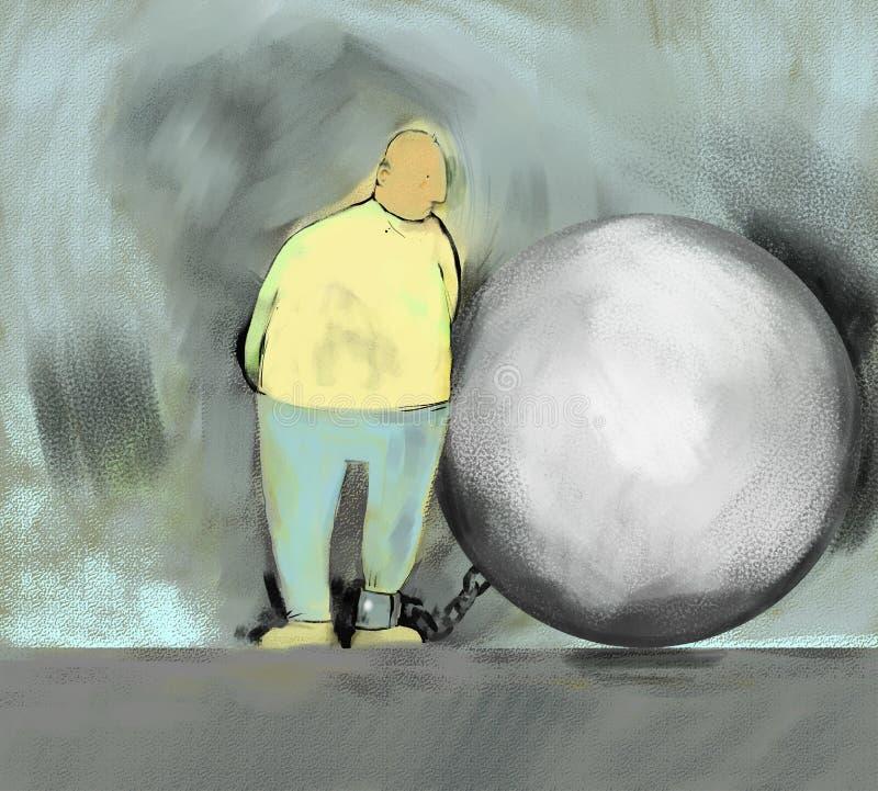 Bola y cadena ilustración del vector