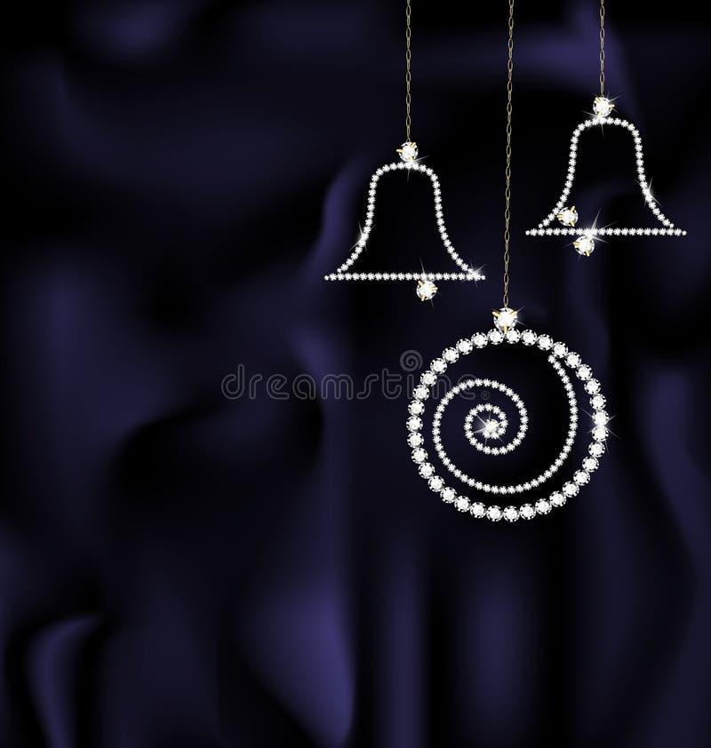 Bola y campanas de la Navidad de la joya stock de ilustración