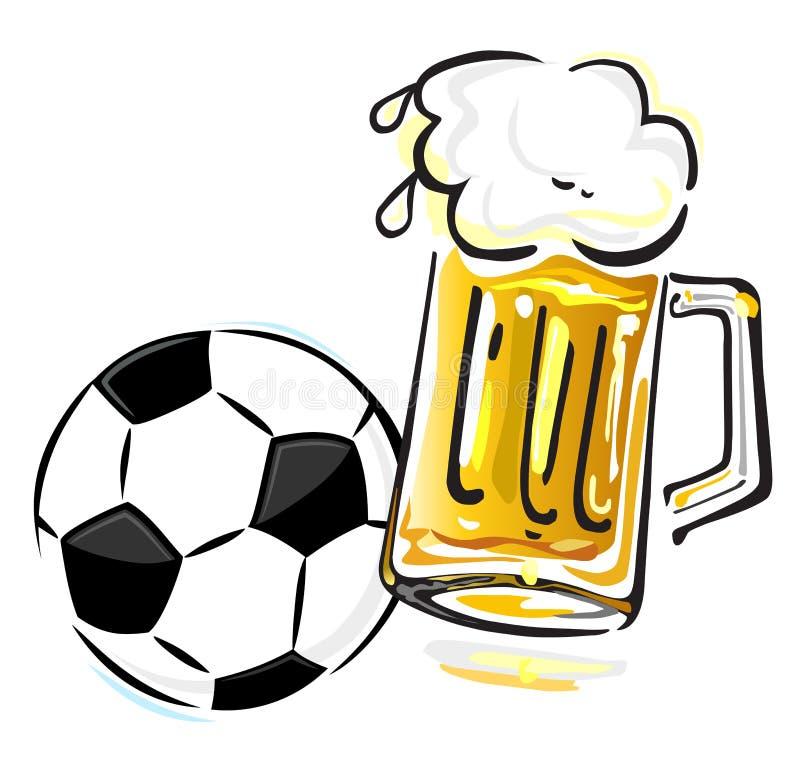 Bola y cerveza de fútbol ilustración del vector