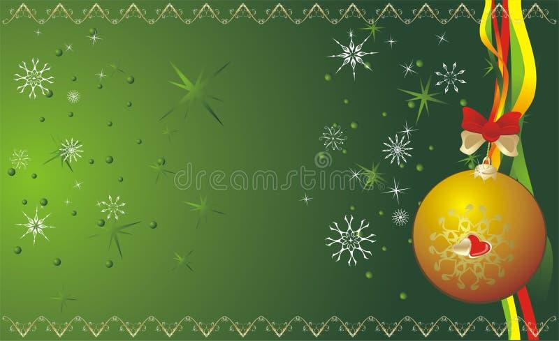 Bola y copos de nieve. Bandera de la Navidad stock de ilustración