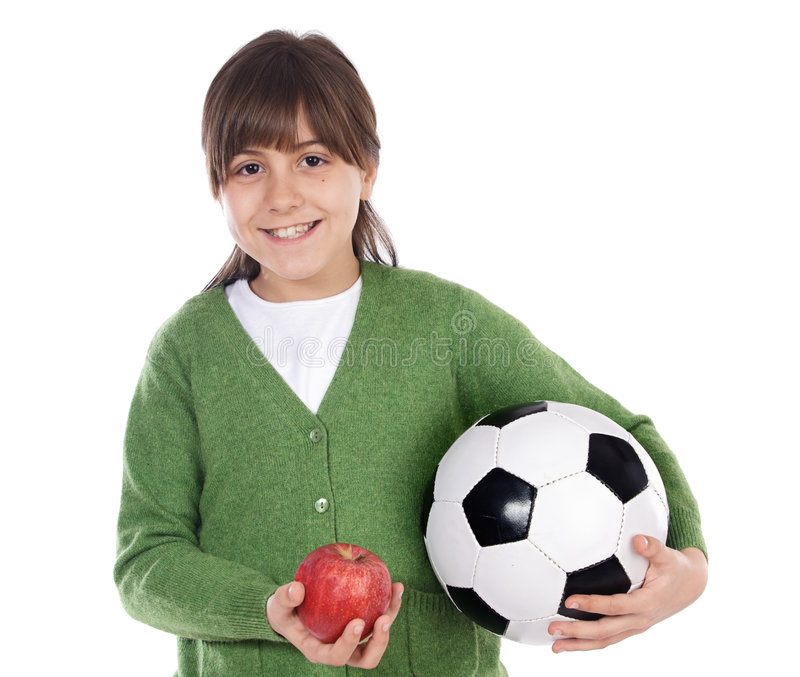 Bola y manzana de la pizca de la muchacha imagenes de archivo