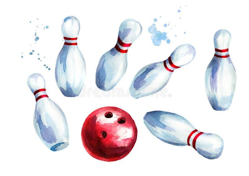 Bola y pernos de bolos fijados Ejemplo dibujado mano de la acuarela aislado en el fondo blanco libre illustration