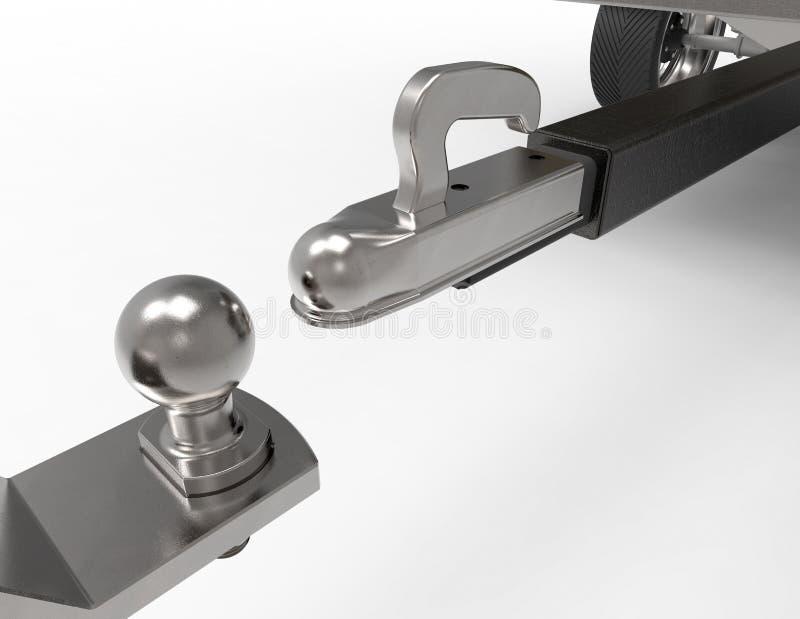 Bola y remolque de la remolque del coche en blanco ilustración del vector