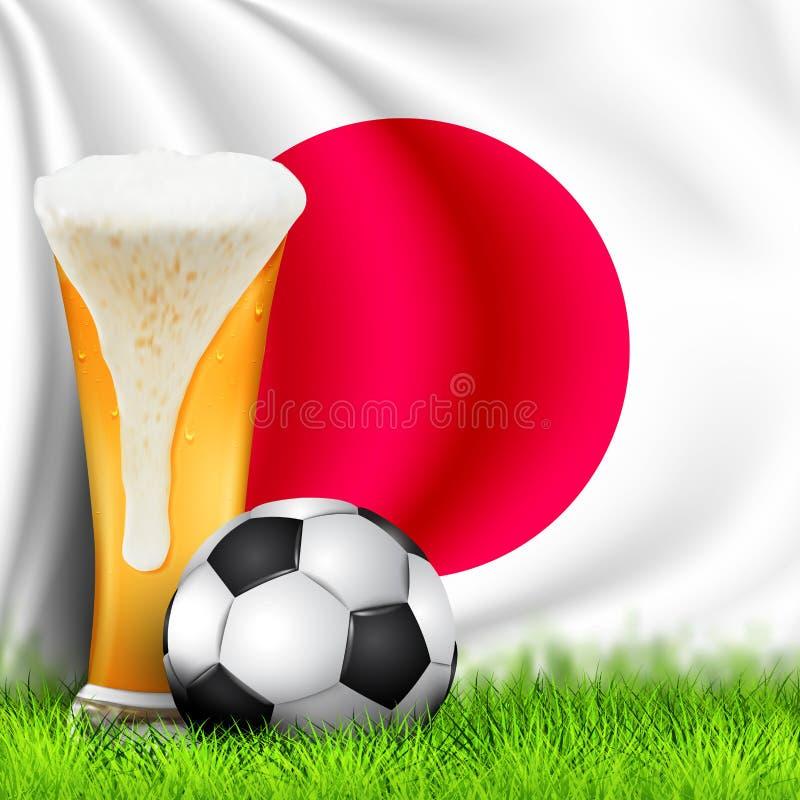 Bola y vaso de cerveza realistas de fútbol 3d en hierba con la bandera que agita nacional de JAPÓN Diseño de un fondo elegante pa imagen de archivo libre de regalías