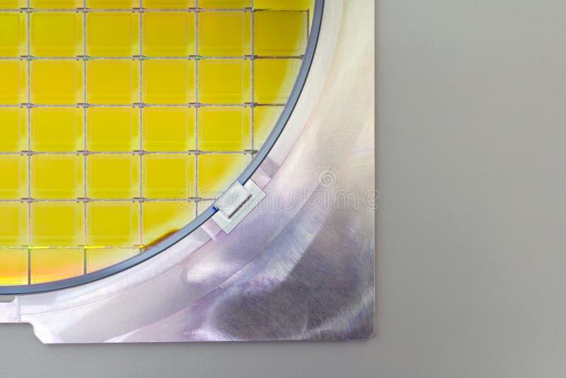 Bolacha de silicone no suporte de aço - uma bolacha é uma fatia fina de material do semicondutor, tal como um silicone cristalino imagem de stock royalty free