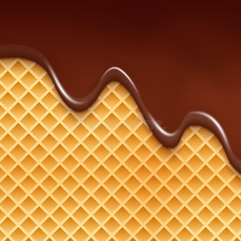 Bolacha e fundo de fluxo do chocolate Ilustração doce da sobremesa da textura do waffle com chocolate ilustração do vetor