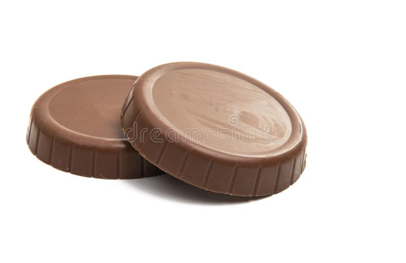 Bolachas no chocolate isolado foto de stock
