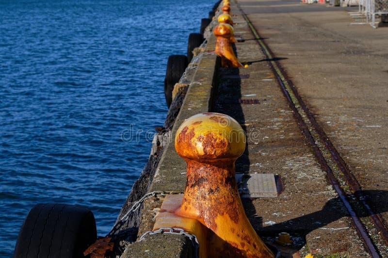 Bolardos amarillos para que barcos aten hasta estiramiento a lo largo del embarcadero en Wellington, Nueva Zelanda imagen de archivo