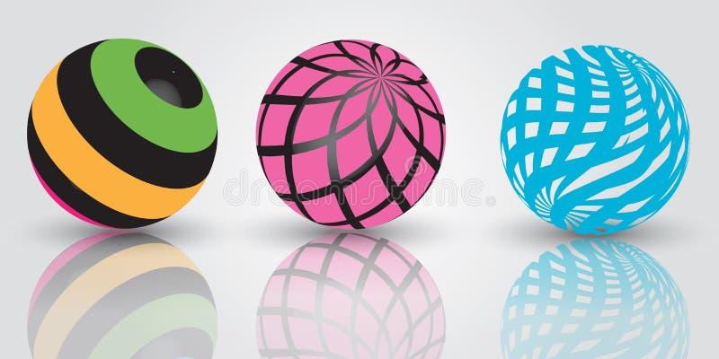 bolas 3d stock de ilustración