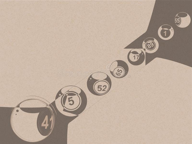 Bolas abstratas da loteria do bingo no papel marrom imagens de stock