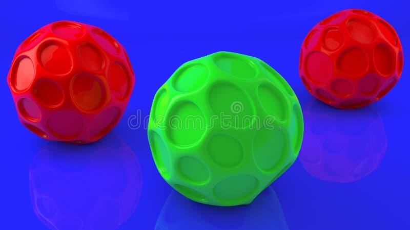 Bolas abstratas em cores verdes e vermelhas ilustração royalty free