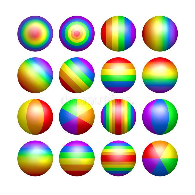 Bolas aisladas del color del arco iris stock de ilustración