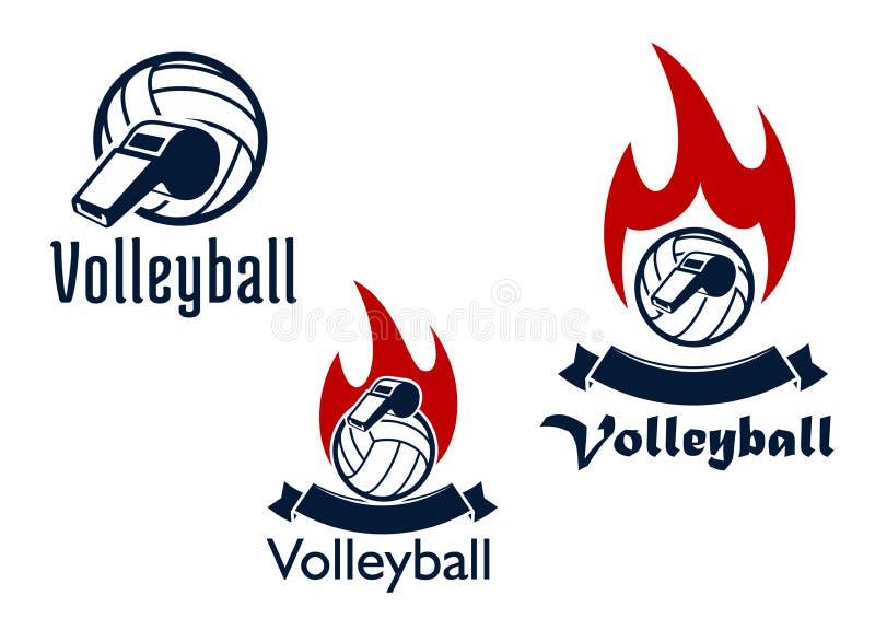 Bolas, assobios e chamas do voleibol ilustração stock