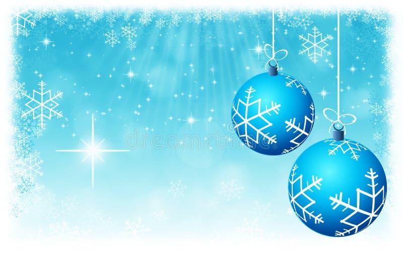 Bolas azuis abstratas do Natal com o backgrou das estrelas e dos flocos de neve ilustração do vetor