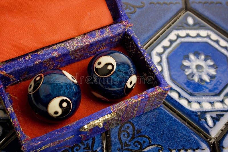 Bolas azules de Baoding del chino fotografía de archivo