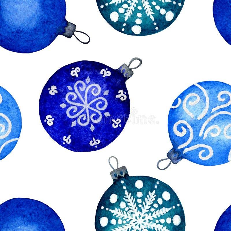 Bolas azules del modelo de la Navidad inconsútil del watercolour en el fondo blanco stock de ilustración