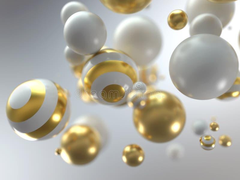 Bolas blancas y de oro de la Navidad libre illustration
