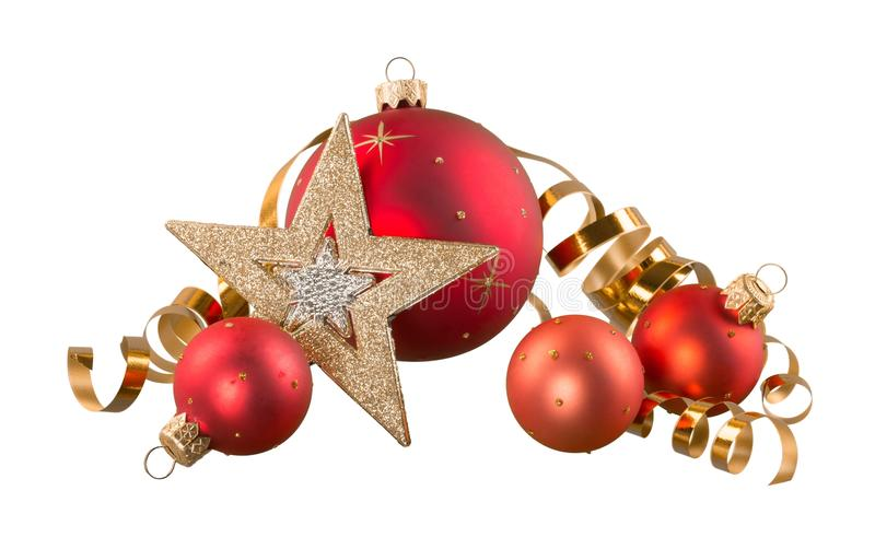 Bolas bonitas do Natal no fundo branco foto de stock royalty free