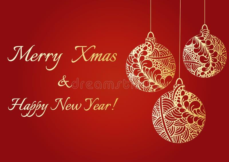 Bolas brillantes de oro dibujadas mano abstracta de la Navidad Texto de la Feliz Navidad y de la Feliz Año Nuevo Modelo de los ga stock de ilustración