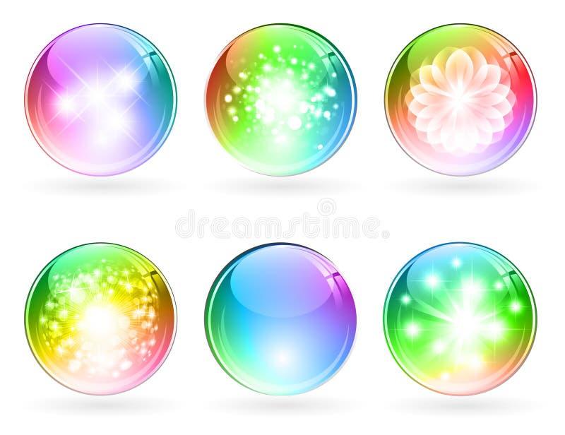 Bolas brillantes multicoloras stock de ilustración