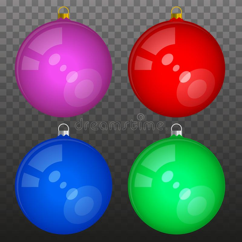 Bolas brillantes multicoloras de la Navidad aisladas ilustración del vector