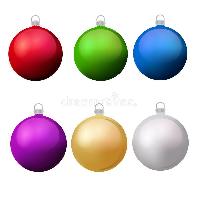 Bolas clásicas de la Navidad con el sistema del vistazo Elementos aislados del diseño de las chucherías del Año Nuevo ilustración del vector