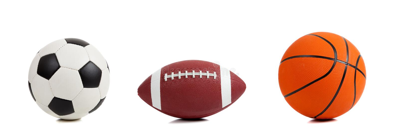 Bolas clasificadas de los deportes en blanco fotografía de archivo