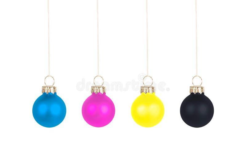 bolas cmyk del rbol de navidad imagenes de archivo