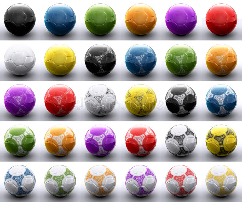 Bolas coloreadas del balompié stock de ilustración
