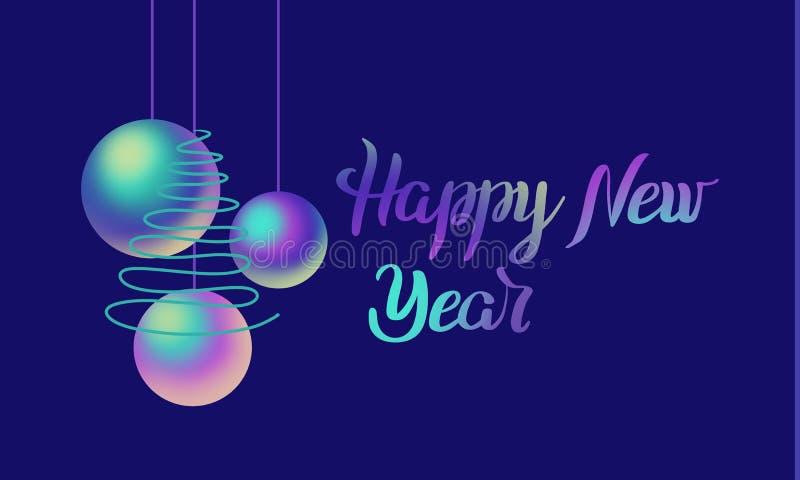 Bolas coloridas da rotulação e do nácar do ano novo feliz, árvore verde no fundo azul Ilustra??o do feriado ilustração do vetor