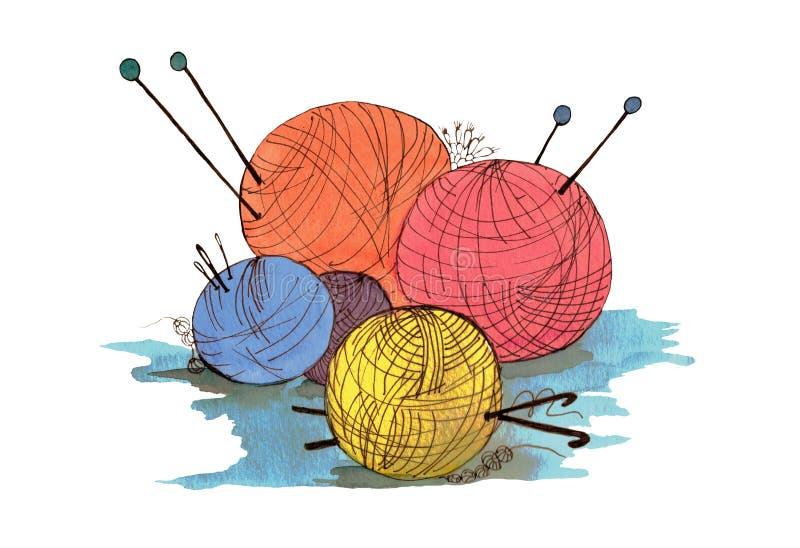 Bolas coloridas de lãs para fazer malha e para fazer crochê ilustração do vetor