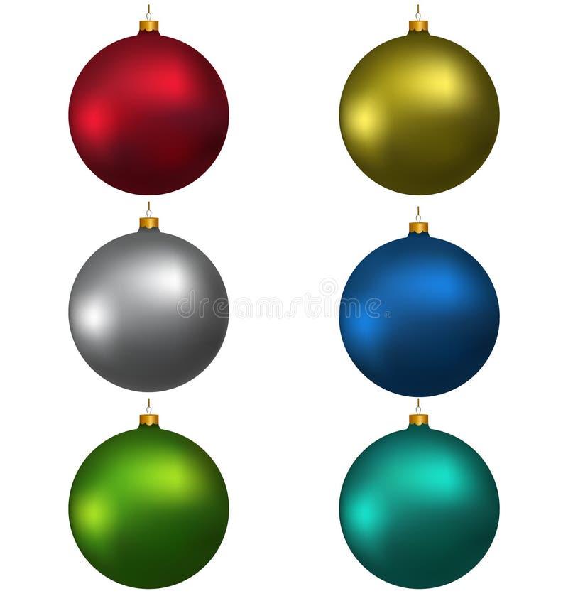 Bolas coloridas de la Navidad, aisladas en blanco ilustración del vector