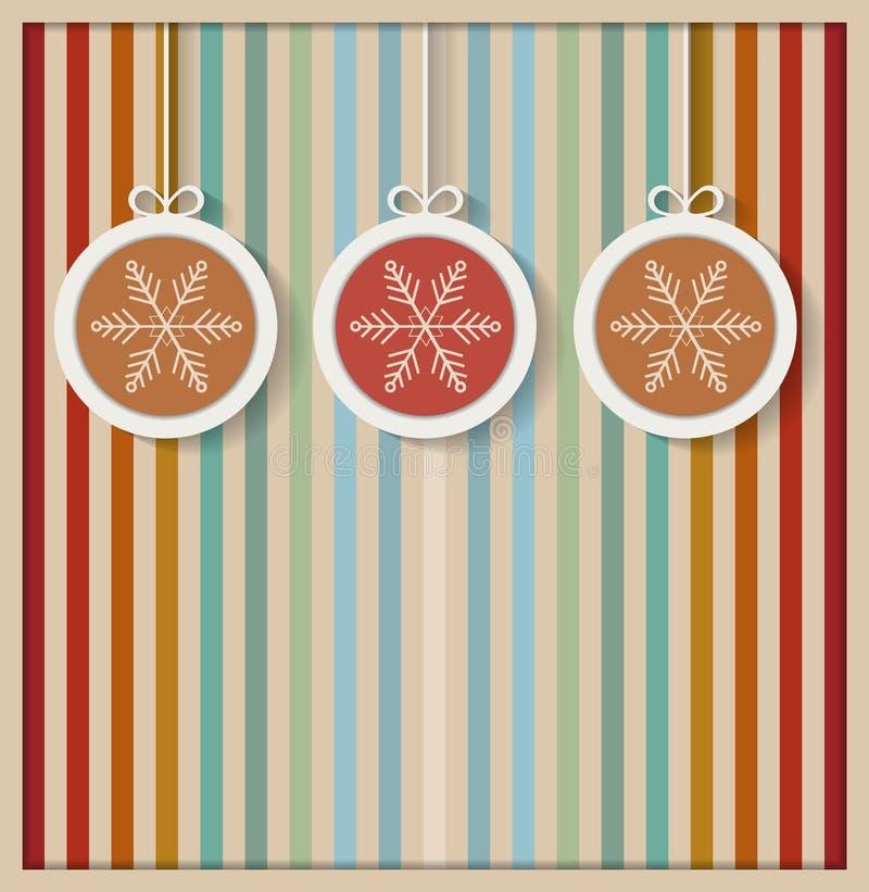 Bolas coloridas de la Navidad con los copos de nieve y el fondo retro stock de ilustración