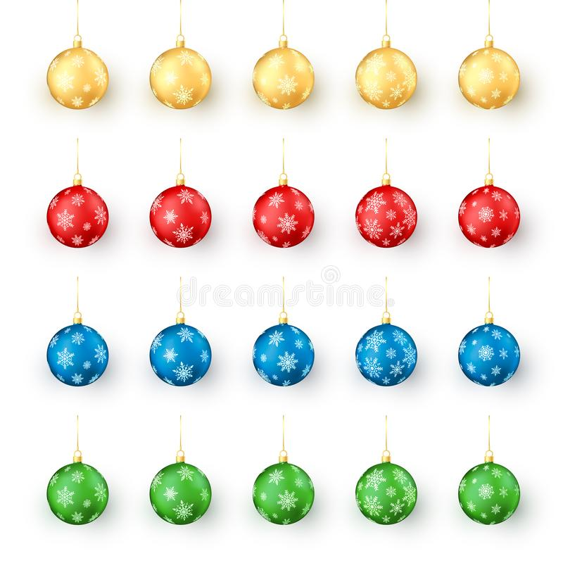 Bolas coloridas de la Navidad fijadas Sistema realista de bolas de Navidad del día de fiesta adornadas por los copos de nieve Ilu libre illustration