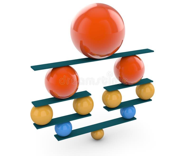 Bolas coloridas en equilibrio perfecto ilustración del vector