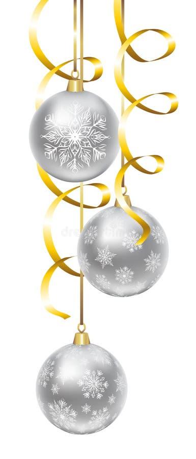 Bolas con el modelo de los copos de nieve ilustración del vector