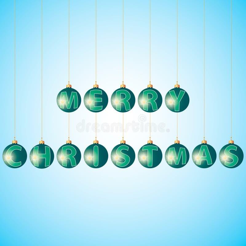 Bolas con Feliz Navidad del texto ilustración del vector