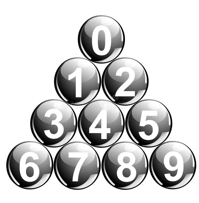 Bolas con números ilustración del vector