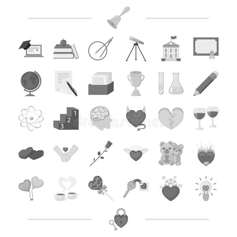 Bolas, copos, café e o outro ícone da Web no estilo preto asas, ursos, ícones do fogo na coleção do grupo ilustração royalty free