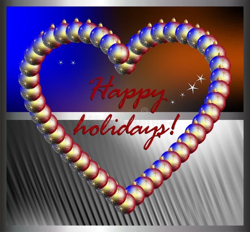 Bolas corazón y deseos de la Navidad fotos de archivo